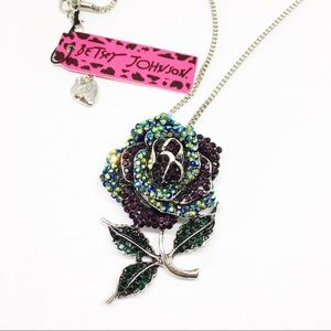 New Betsey Johnson Crystals Rose Pendant Necklace